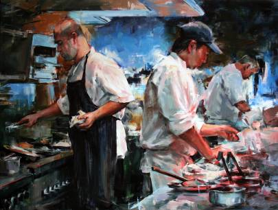 Busy kitchen, Ferreira cafe